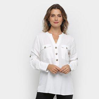 Camisa Facinelli com Bolso Manga Longa Feminina