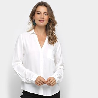 Camisa Facinelli Lisa com Bolso Manga Longa Feminina