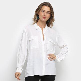 Camisa Facinelli Lisa com Bolsos Manga Longa Feminina