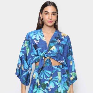 Camisa Farm Folha De Tinta Feminina