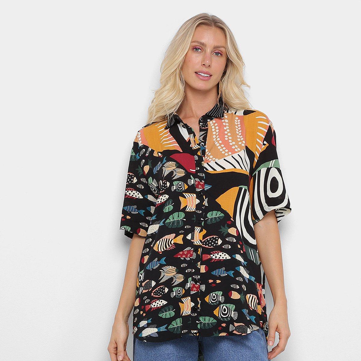 Camisa Farm Uni Cardume Tropical Feminina | Zattini