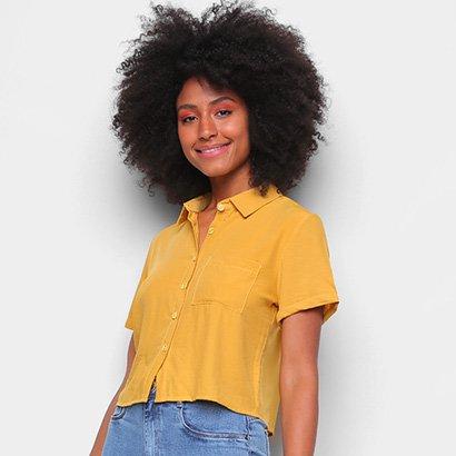 Camisa FavoritaS Manga Curta Bolso Feminina Feminino-Amarelo
