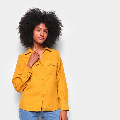 Camisa Favoritas Manga Longa Bolsos Feminina Feminino-Amarelo