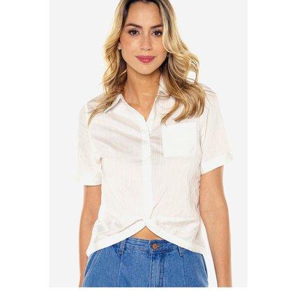 Camisa Feminina Cropped Listrada Under79 Branca