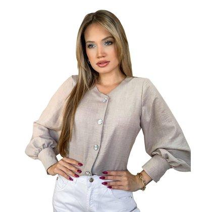Camisa Feminina de Linho Manga Longa Diclass Brand