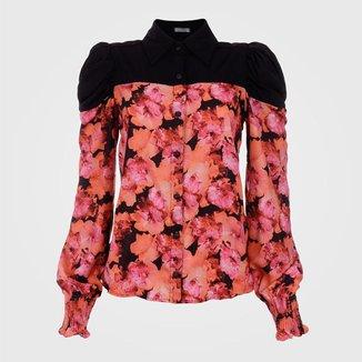 Camisa Feminina Manga Bufante Detalhe - Floral M Vértice