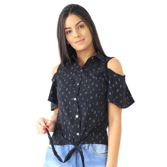 Camisa Feminina Manga Curta Estampada Com Amarração Social - Preto