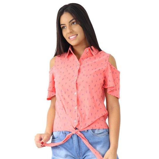 Camisa Feminina Manga Curta Estampada Com Amarração Social - Rosa
