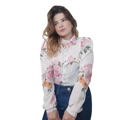 Camisa Feminina Manga Longa Floral Diclass Brand