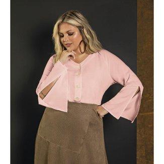 Camisa Feminina Plus Size Viscolinho Secret Glam Rosa Plus G