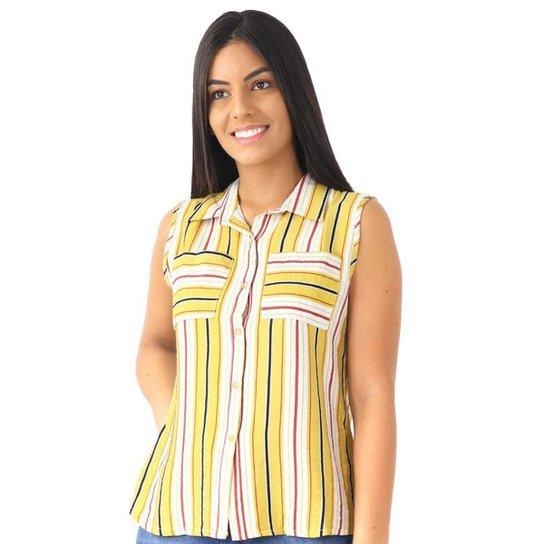 Camisa Feminina Regata Listrada Listra Bolsos Casual Social - Amarelo