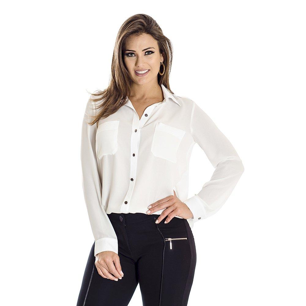 camisa básica - Camisa Fina Ana Hickmann - Branco