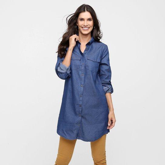 Camisa Fiya Lady Chemisie Jeans - Azul Escuro