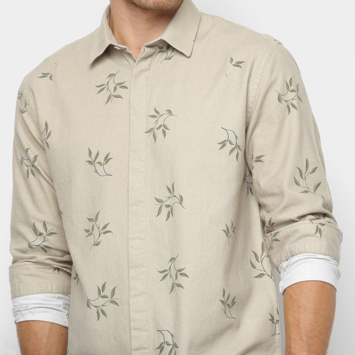Camisa Foxton Manga Longa Estampa Folhagem Masculina - Bege