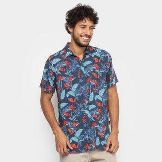 Camisa Gajang Manga Curta Estampada Bolso Masculina