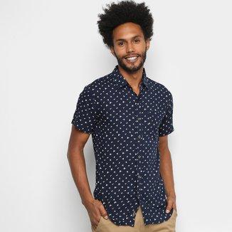Camisa Gajang Manga Curta Estampada Masculina