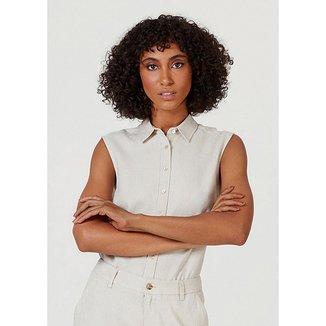 Camisa Hering Básica Linho Com Botões Feminina