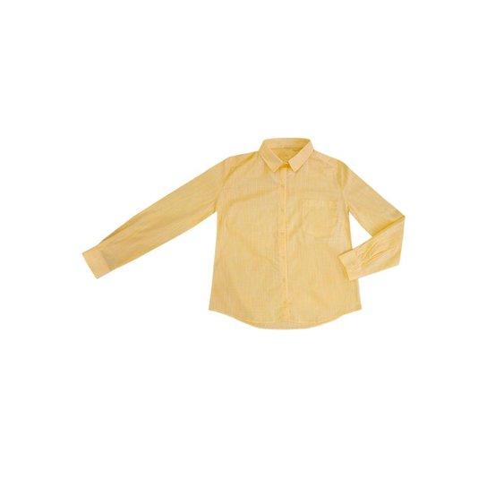 Camisa Hering em Tecido De Algodão Texturizado Folha Feminina - Amarelo Claro