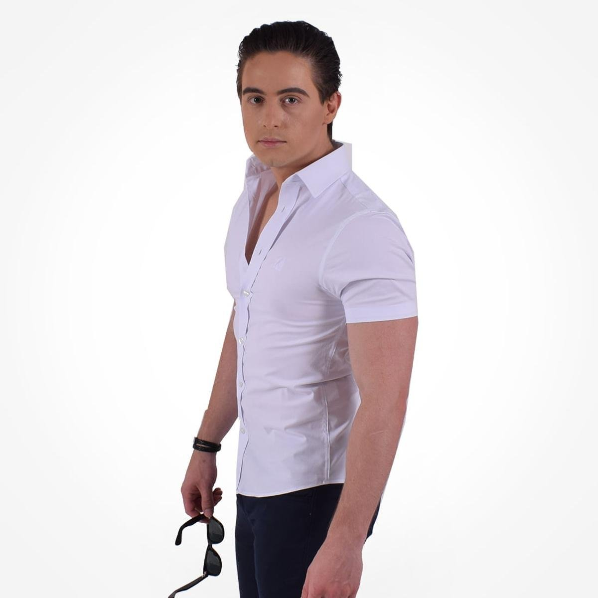 Camisa Horus Social Manga Curta Slim - Branco - Compre Agora  728e1c7a06a3c