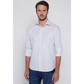 Camisa Individual Slim Fit Listrado Branco Tam. 03