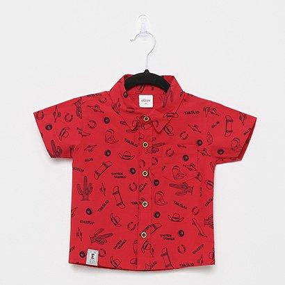 Camisa Infantil Elian Tricoline Estampado Masculina