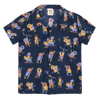 Camisa Infantil PUC Manga Curta Estampada Bolso Masculina