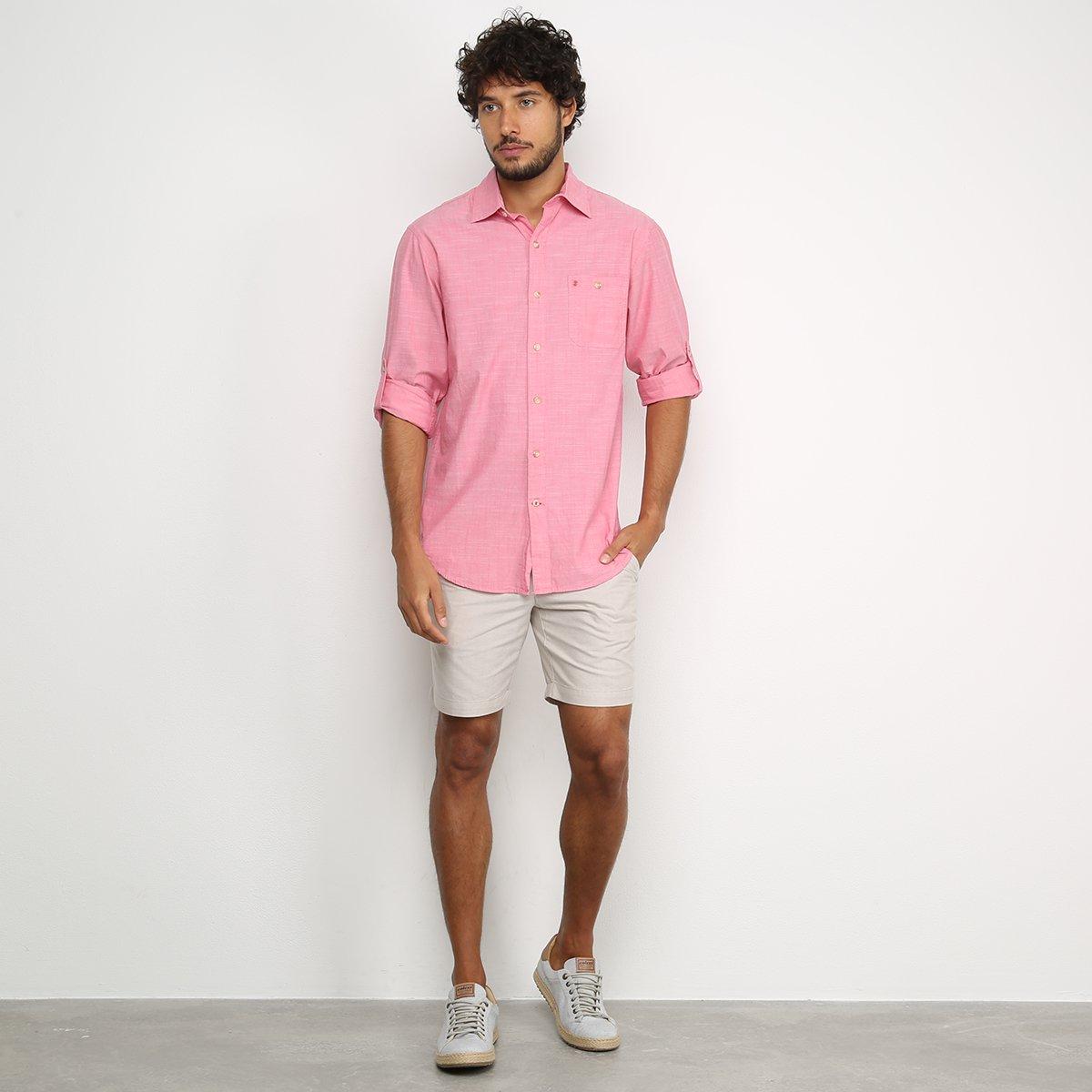Camisa Izod Bolso Manga Longa Masculina - Vermelho Claro