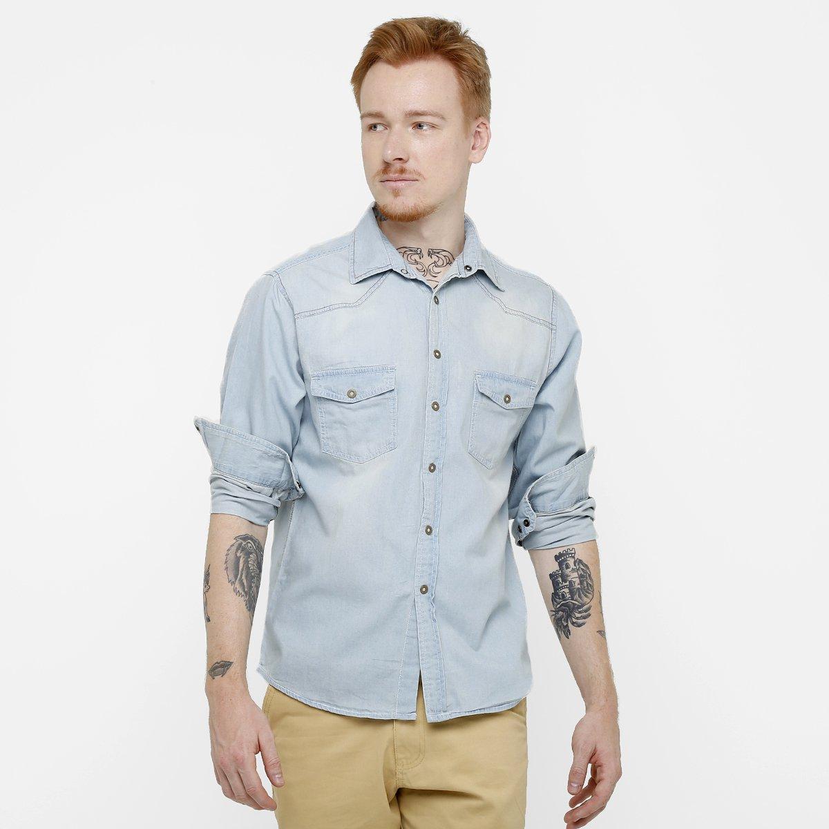 58fb655eadbd33 Camisa Jeans Blue Bay Lavagem Clara | Zattini