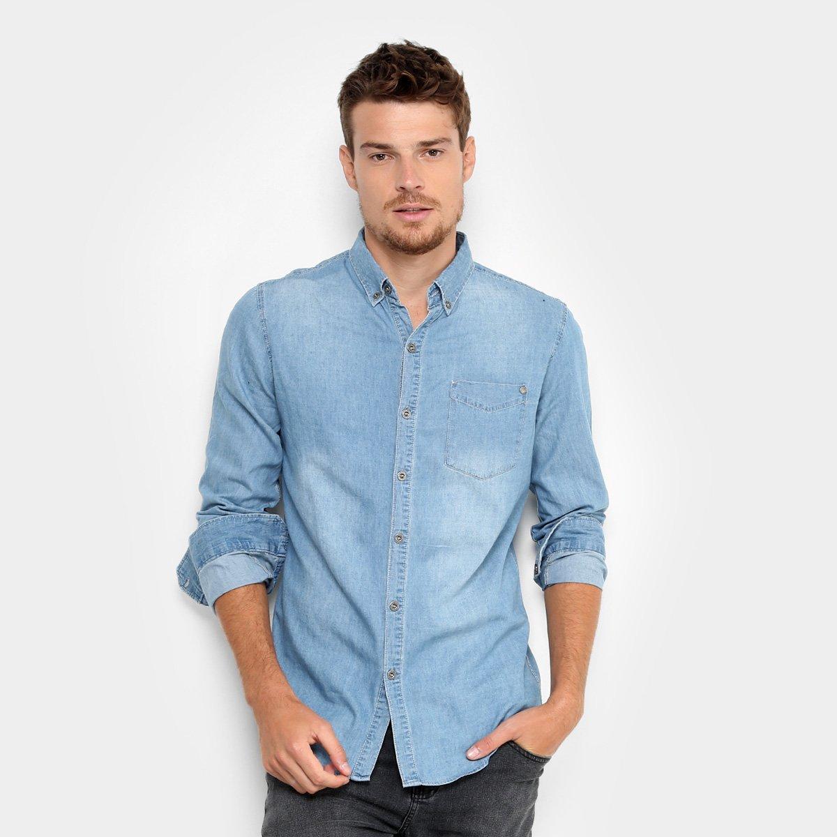 8410036a4f7020 Camisa Jeans Broken Rules com Bolso Masculina | Zattini