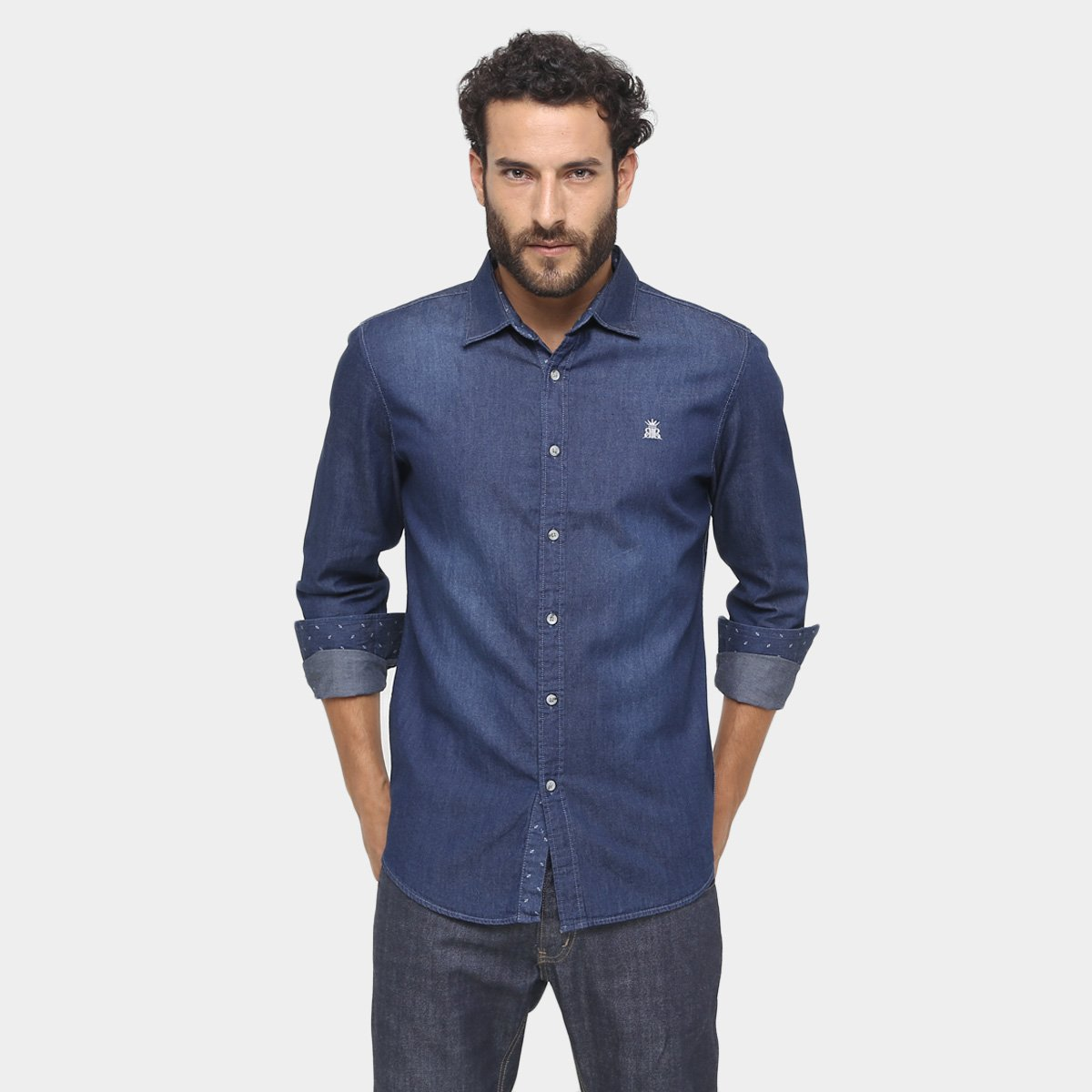Compra luz azul camisa azul jeans oscuros online al por