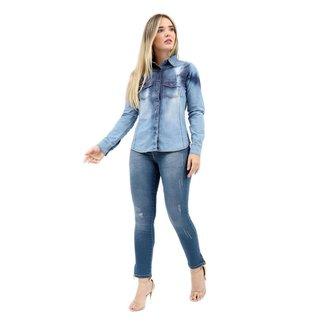 Camisa Jeans Clothify Manga Longa Tie Dye Feminina