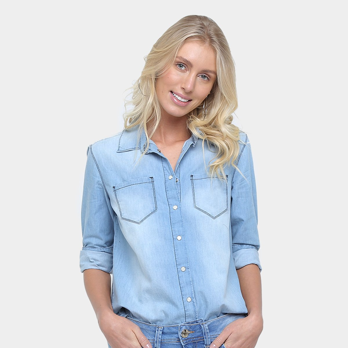 443a3a3b1c Camisa Jeans Colcci Estonada Manga Longa Feminina