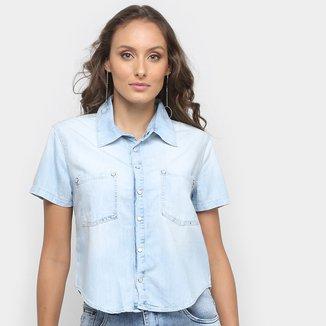 Camisa Jeans Disparate Manga Curta Feminina