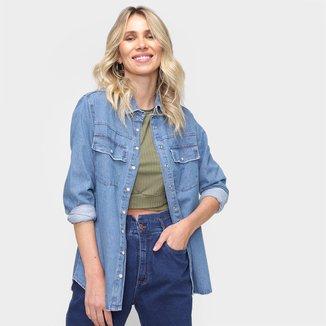 Camisa Jeans Dzarm Manga Longa Feminina
