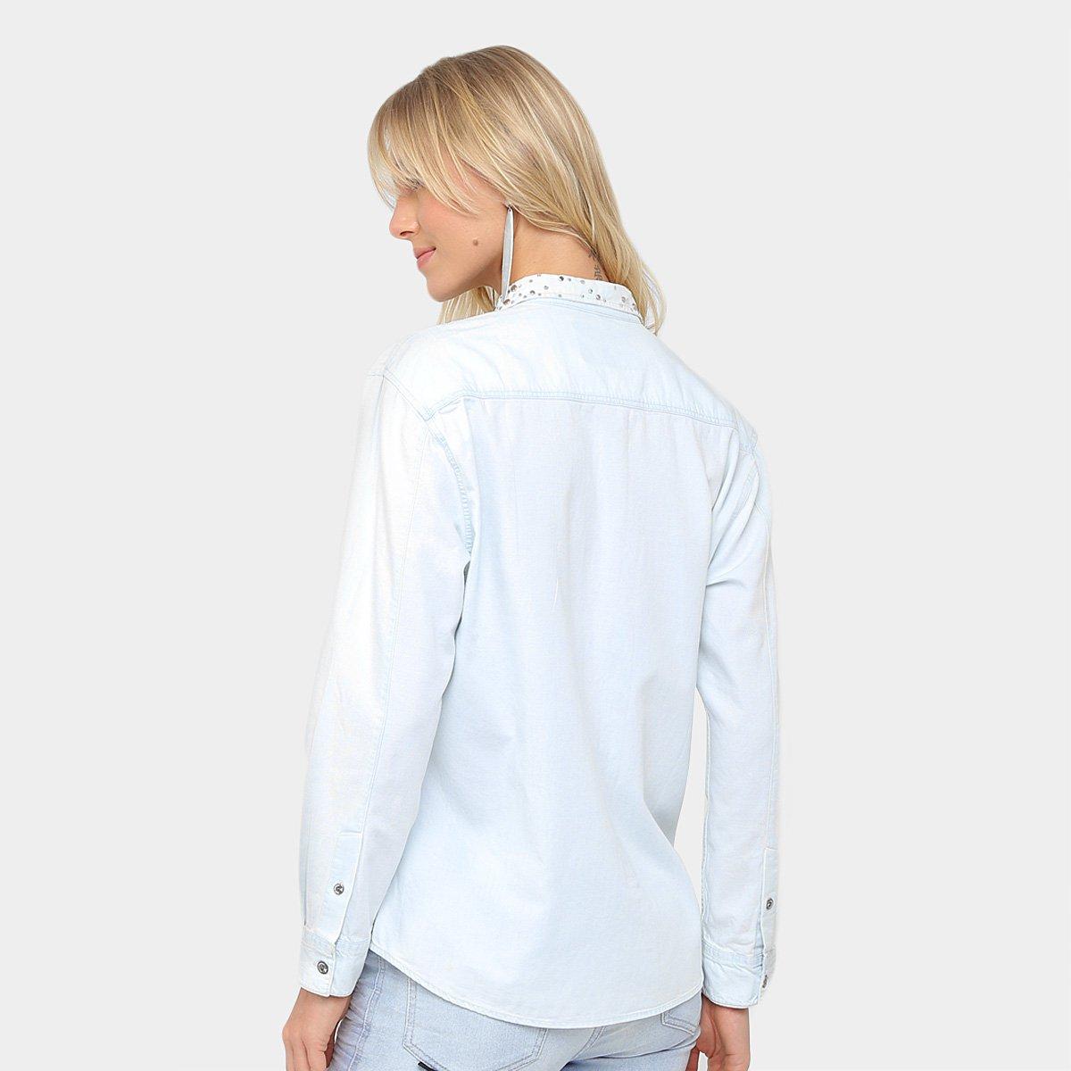 546f2dc4b6 Camisa Jeans Ellus Pedraria Feminina; Camisa Jeans Ellus Pedraria Feminina  ...