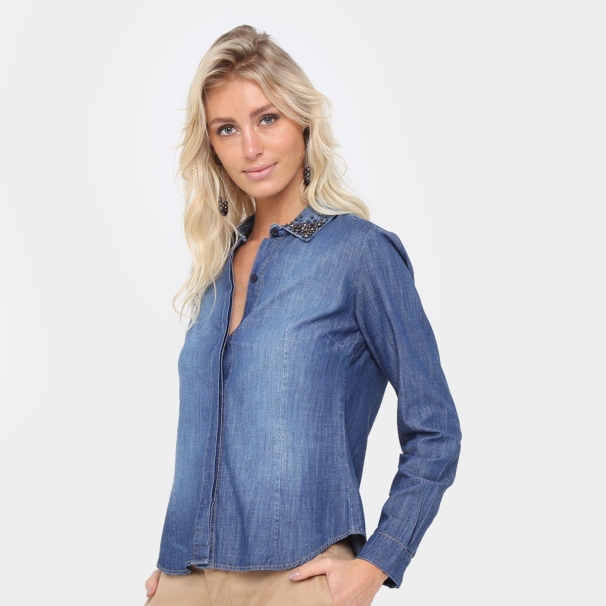 Camisa Jeans Forum Manga Longa Feminina - Compre Agora  9a709dbef6d31