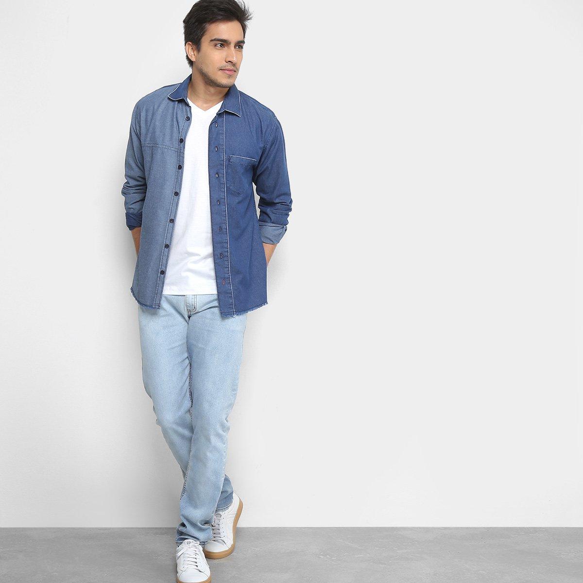 Camisa Jeans Forum Smart Masculina - Azul