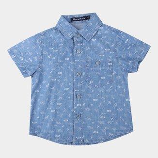 Camisa Jeans Infantil Plural Kids Dino Masculina