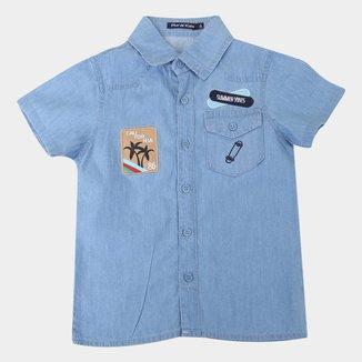 Camisa Jeans Infantil Plural Kids Summer Vibes Masculina
