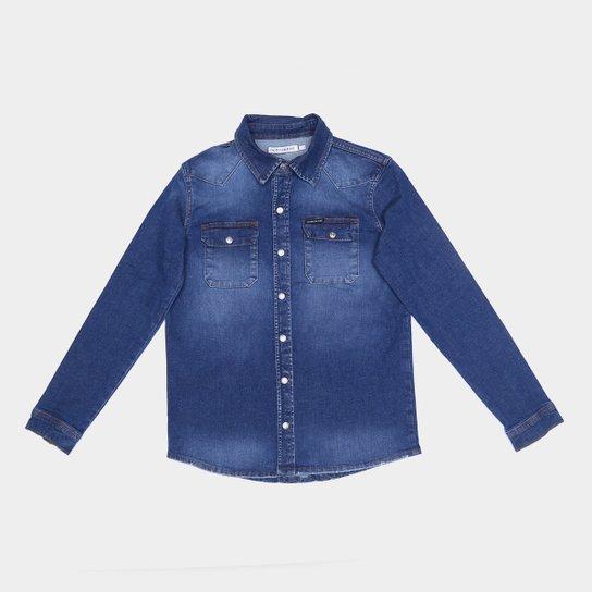 Camisa Jeans Juvenil Calvin Klein Com Bolso - Azul