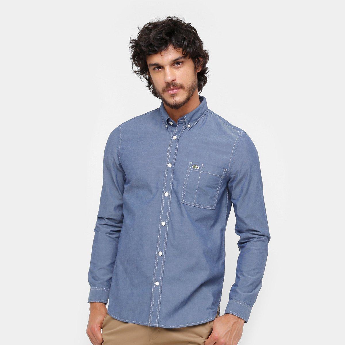 357127a77c Camisa Jeans Lacoste Regular Fit Com Bolso Masculina - Compre Agora ...