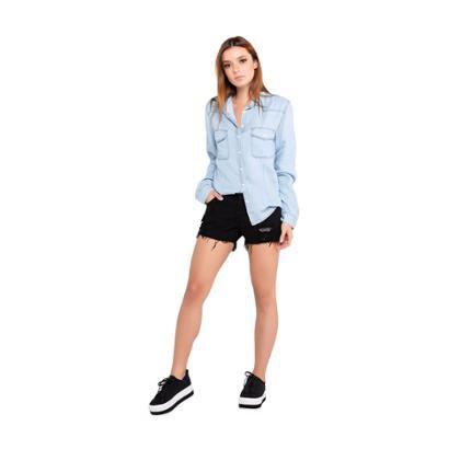 Camisa Jeans Latifundio Manga Longa Feminina
