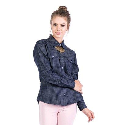 Camisa Jeans Malhas Carlan Masculina