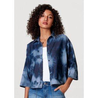 Camisa Jeans Manga 7/8 Com Lavanderia Tie-Dye Hering Feminina