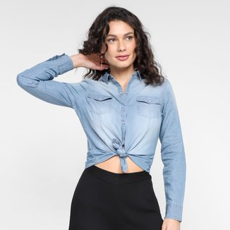 Camisa Jeans Manga Longa Aishty Core Feminina