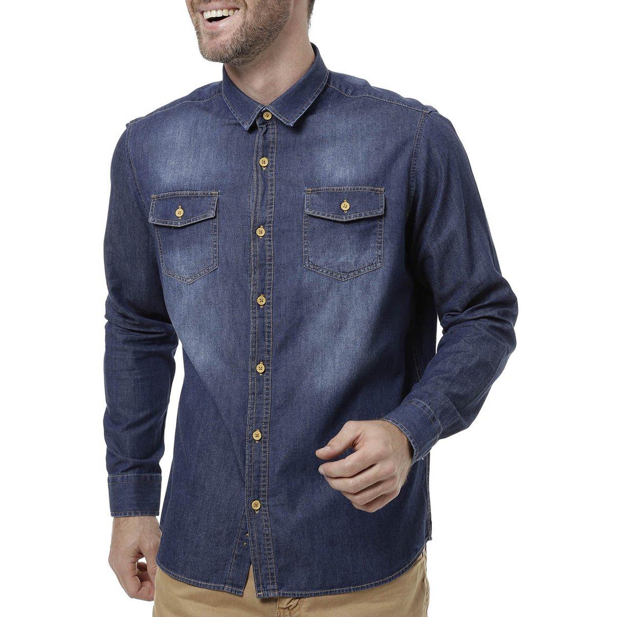 Camisa Jeans Manga Longa Masculina Azul escuro - Compre Agora  d9f1037d321