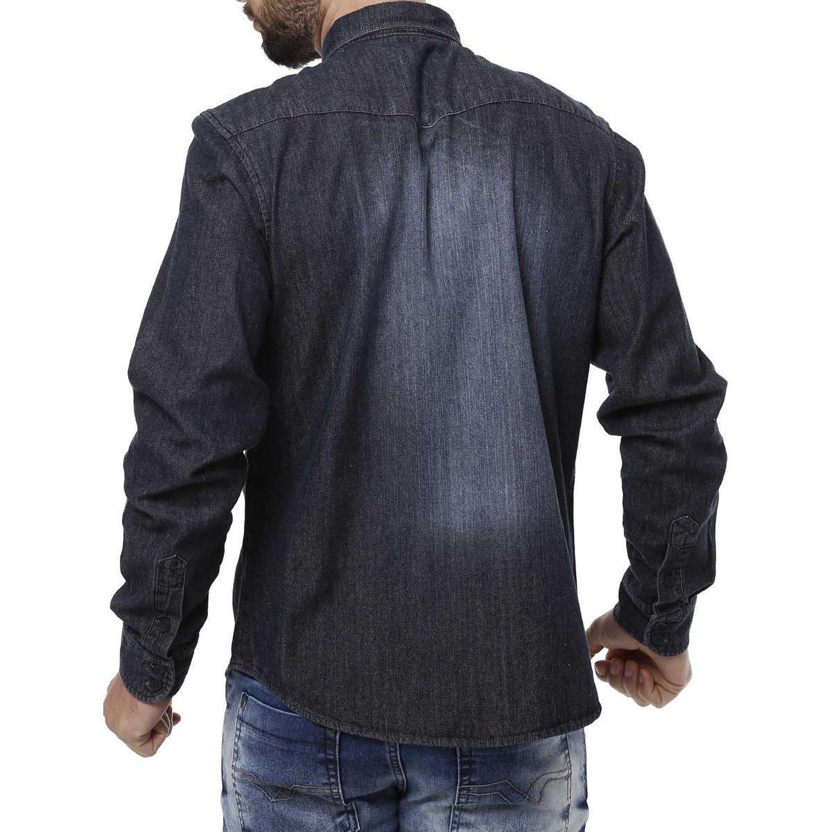 0c3937be3 Camisa Jeans Manga Longa Masculina Bivik - Azul - Compre Agora