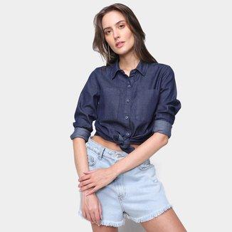 Camisa Jeans Manga Longa Mercatto Lisa Feminina