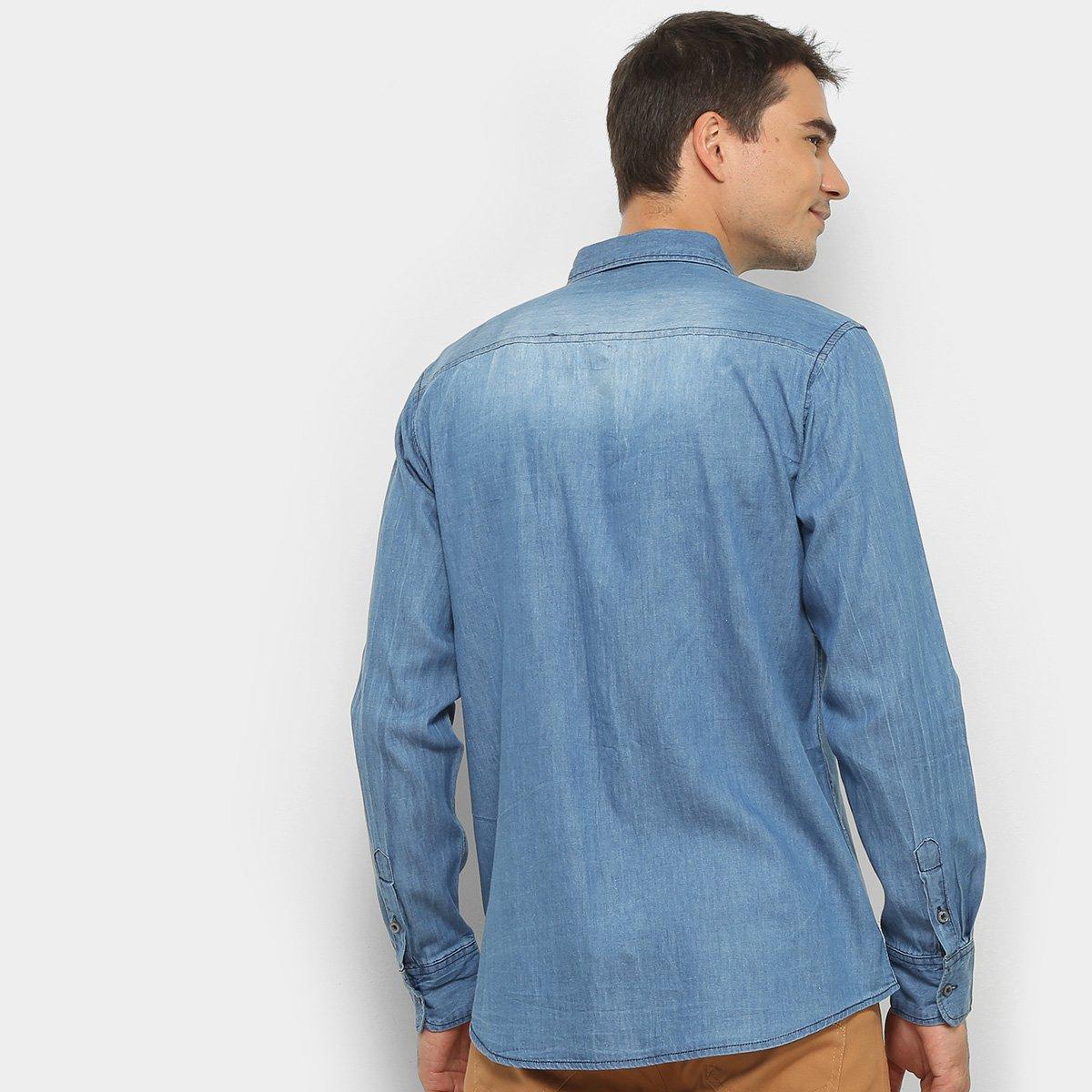Camisa Jeans Manga Longa Watkins & Krown Estonada Masculina - Azul Claro