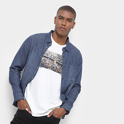 Camisa Jeans Redley Manga Longa Ziguezague Masculina